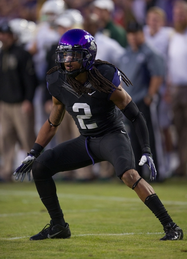 Nov 30, 2013; Fort Worth, TX, USA; TCU Horned Frogs cornerback Jason Verrett (2) defends against the Baylor Bears during the game at Amon G. Carter Stadium. The Bears defeated the Horned Frogs 41-38. Mandatory Credit: Jerome Miron-USA TODAY Sports