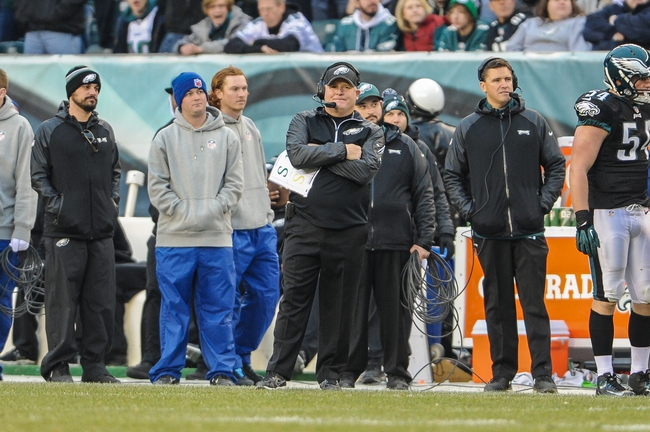 Dec 1, 2013; Philadelphia, PA, USA;  Philadelphia Eagles head coach Chip Kelly on the sideline during the game against the Arizona Cardinals at Lincoln Financial Field. The Philadelphia Eagles won the game 24-21.  Mandatory Credit: John Geliebter-USA TODAY Sports