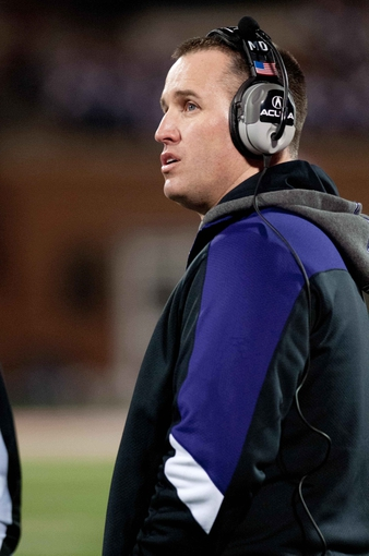 Nov 30, 2013; Champaign, IL, USA; Northwestern Wildcats head coach Pat Fitzgerald during the game against the Illinois Fighting Illini at Memorial Stadium. Mandatory Credit: Bradley Leeb-USA TODAY Sports