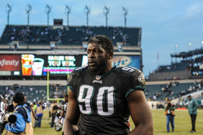 Dec 1, 2013; Philadelphia, PA, USA;  Philadelphia Eagles defensive end Clifton Geathers (90) after the game against the Arizona Cardinals at Lincoln Financial Field. The Philadelphia Eagles won the game 24-21.  Mandatory Credit: John Geliebter-USA TODAY Sports