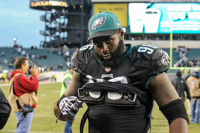 Dec 1, 2013; Philadelphia, PA, USA;  Philadelphia Eagles nose tackle Bennie Logan (96) after the game against the Arizona Cardinals at Lincoln Financial Field. The Philadelphia Eagles won the game 24-21.  Mandatory Credit: John Geliebter-USA TODAY Sports