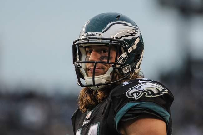 Dec 1, 2013; Philadelphia, PA, USA;  Philadelphia Eagles wide receiver Riley Cooper (14) looks to the referee in the third quarter of the game against the Arizona Cardinals at Lincoln Financial Field. The Philadelphia Eagles won the game 24-21.  Mandatory Credit: John Geliebter-USA TODAY Sports