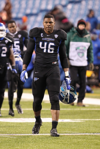 Nov 29, 2013; Buffalo, NY, USA; Buffalo Bulls linebacker Khalil Mack (46) after a game against the Bowling Green Falcons at Ralph Wilson Stadium. Bowling Green beat Buffalo 24 to 7.  Mandatory Credit: Timothy T. Ludwig-USA TODAY Sports