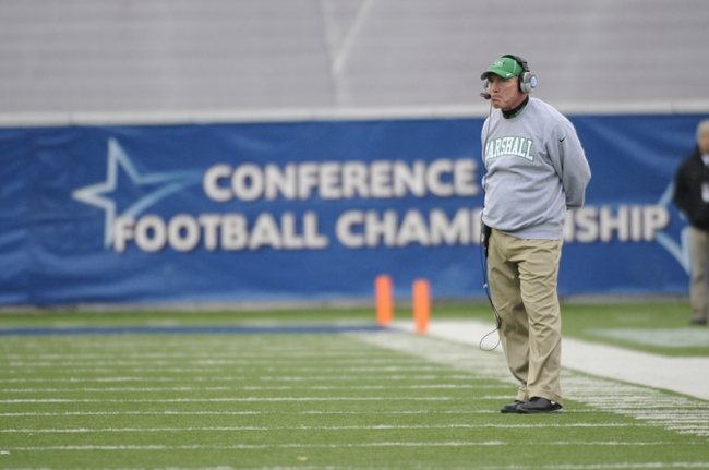 Dec 7, 2013; Houston, TX, USA; Marshall Thundering Herd head coach Doc Holliday reacts against the Rice Owls during the second half of the Conference USA championship game at Rice Stadium. Rice beat Marshall 41-24. Mandatory Credit: Brendan Maloney-USA TODAY Sports