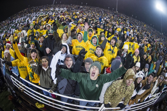 Dec 7, 2013; Waco, TX, USA; Baylor Bears fans cheer for the Bears during the second half  against the Texas Longhorns at Floyd Casey Stadium. The Bears won 30-10 to win the Big 12 championship. Mandatory Credit: Jerome Miron-USA TODAY Sports
