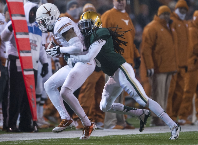 Dec 7, 2013; Waco, TX, USA; Baylor Bears cornerback K.J. Morton (8) during the second half at Floyd Casey Stadium. The Bears won 30-10 to win the Big 12 championship. Mandatory Credit: Jerome Miron-USA TODAY Sports