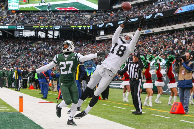 Dec 8, 2013; East Rutherford, NJ, USA; Oakland Raiders wide receiver Andre Holmes (18) is unable to catch a pass while defended by New York Jets cornerback Dee Milliner (27) during the game at MetLife Stadium. Mandatory Credit: Robert Deutsch-USA TODAY Sports