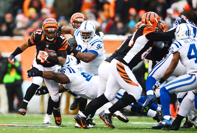 Dec 8, 2013; Cincinnati, OH, USA; Cincinnati Bengals running back BenJarvus Green-Ellis (42) runs the ball during the third quarter against the Indianapolis Colts at Paul Brown Stadium. Mandatory Credit: Andrew Weber-USA TODAY Sports