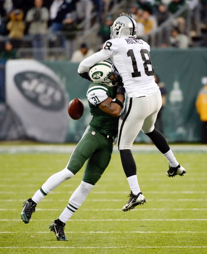 Dec 8, 2013; East Rutherford, NJ, USA; New York Jets cornerback Antonio Cromartie (31) is called for pass interference against Oakland Raiders wide receiver Andre Holmes (18) during the game at MetLife Stadium. Mandatory Credit: Robert Deutsch-USA TODAY Sports