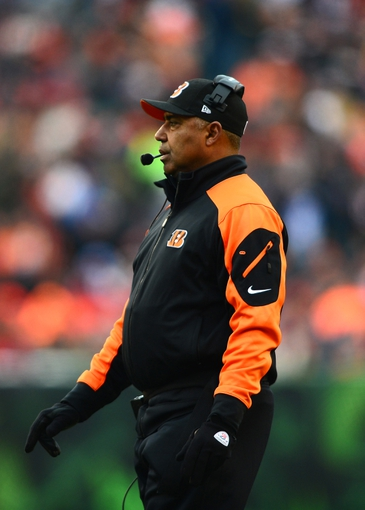 Dec 8, 2013; Cincinnati, OH, USA; Cincinnati Bengals head coach Marvin Lewis on the sidelines during the fourth quarter against the Indianapolis Colts at Paul Brown Stadium. Mandatory Credit: Andrew Weber-USA TODAY Sports