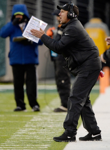 Dec 8, 2013; East Rutherford, NJ, USA; Oakland Raiders head coach Dennis Allen during the game against the New York Jets  at MetLife Stadium. Mandatory Credit: Robert Deutsch-USA TODAY Sports