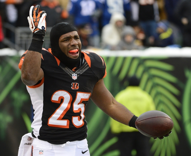 Dec 8, 2013; Cincinnati, OH, USA; Cincinnati Bengals running back Gio Bernard (25) yells at a referee after being tackled by his face mask during the second half of the game at Paul Brown Stadium. Cincinnati Bengals beat Indianapolis Colts 42-28 Mandatory Credit: Marc Lebryk-USA TODAY Sports