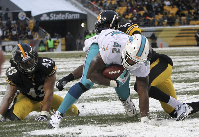 Dec 8, 2013; Pittsburgh, PA, USA; Miami Dolphins tight end Charles Clay (42) gets past Pittsburgh Steelers safety Troy Polamalu (43) and cornerback Cortez Allen (42) for a touchdown during the second half at Heinz Field. The Dolphins won the game, 34-27. Mandatory Credit: Jason Bridge-USA TODAY Sports