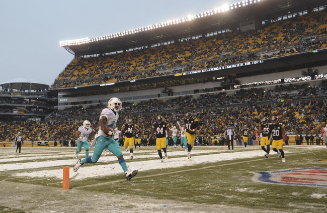 Dec 8, 2013; Pittsburgh, PA, USA; Miami Dolphins tight end Charles Clay (42) scores a touchdown against the Pittsburgh Steelers during the second half at Heinz Field. The Dolphins won the game, 34-27. Mandatory Credit: Jason Bridge-USA TODAY Sports