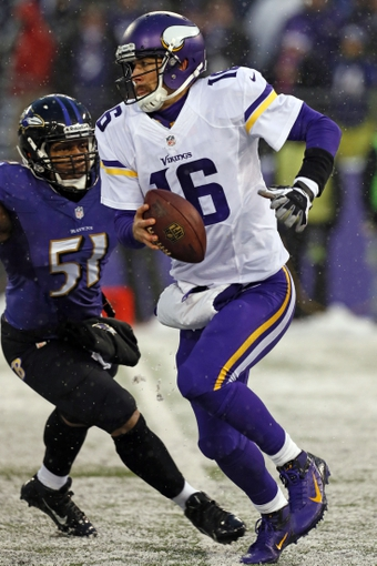 Dec 8, 2013; Baltimore, MD, USA; Baltimore Ravens linebacker Daryl Smith (51) pressures Minnesota Vikings quarterback Matt Cassel (16) at M&T Bank Stadium. Mandatory Credit: Mitch Stringer-USA TODAY Sports