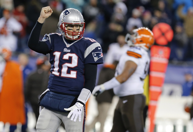 Dec 8, 2013; Foxborough, MA, USA; New England Patriots quarterback Tom Brady (12) reacts after a play against the Cleveland Browns in the second half at Gillette Stadium. The Patriots defeated the Cleveland Browns 27-26. Mandatory Credit: David Butler II-USA TODAY Sports