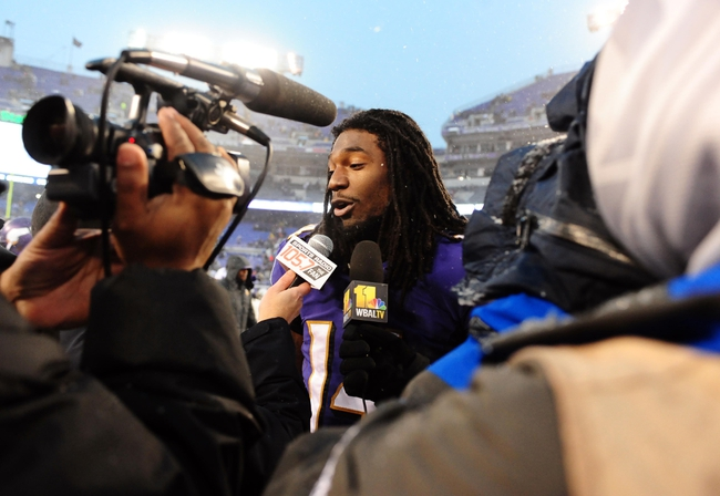 Dec 8, 2013; Baltimore, MD, USA; Baltimore Ravens wide receiver Marlon Brown (14) is interviewed after the game against the Minnesota Vikings at M&T Bank Stadium. Mandatory Credit: Evan Habeeb-USA TODAY Sports