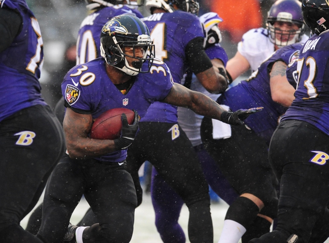 Dec 8, 2013; Baltimore, MD, USA; Baltimore Ravens running back Bernard Pierce (30) runs with the ball during the game against the Minnesota Vikings at M&T Bank Stadium. Mandatory Credit: Evan Habeeb-USA TODAY Sports
