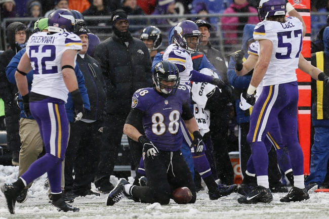 Dec 8, 2013; Baltimore, MD, USA; Baltimore Ravens tight end Dennis Pitta (88) looks at the ball he was unable to catch a pass to convert a fourth down against the Minnesota Vikings at M&T Bank Stadium. Mandatory Credit: Mitch Stringer-USA TODAY Sports