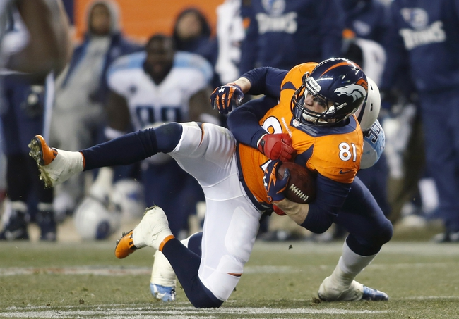 Dec 8, 2013; Denver, CO, USA; Denver Broncos tight end  Joel Dreessen (81) catches a pass during the second half against the Tennessee Titans at Sports Authority Field at Mile High. The Broncos won 51-28.  Mandatory Credit: Chris Humphreys-USA TODAY Sports