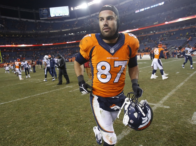 Dec 8, 2013; Denver, CO, USA; Denver Broncos wide receiver Eric Decker (87) walks off the field after the second half against the Tennessee Titans at Sports Authority Field at Mile High. The Broncos won 51-28.  Mandatory Credit: Chris Humphreys-USA TODAY Sports