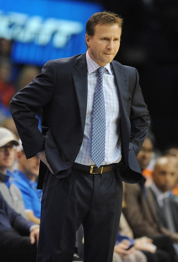 Dec 8, 2013; Oklahoma City, OK, USA; Oklahoma City Thunder head coach Scott Brooks reacts to a play in action against the Indiana Pacers at Chesapeake Energy Arena. Mandatory Credit: Mark D. Smith-USA TODAY Sports