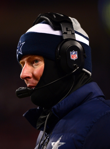 Dec 9, 2013; Chicago, IL, USA; Dallas Cowboys head coach Jason Garrett on the sidelines during the fourth quarter against the Chicago Bears at Soldier Field. Mandatory Credit: Andrew Weber-USA TODAY Sports
