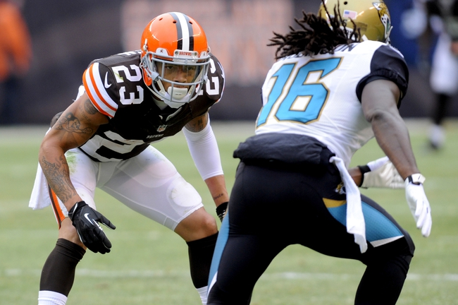 Dec 1, 2013; Cleveland, OH, USA; Cleveland Browns cornerback Joe Haden (23) lines up against Jacksonville Jaguars running back Denard Robinson (16) at FirstEnergy Stadium. Mandatory Credit: Ken Blaze-USA TODAY Sports