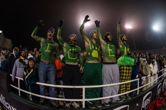 Dec 7, 2013; Waco, TX, USA; The Baylor Bears fans and students root for the Bears during the game against the Texas Longhorns at Floyd Casey Stadium. The Baylor Bears defeated the Texas Longhorns 30-10 to win the Big 12 championship. Mandatory Credit: Jerome Miron-USA TODAY Sports
