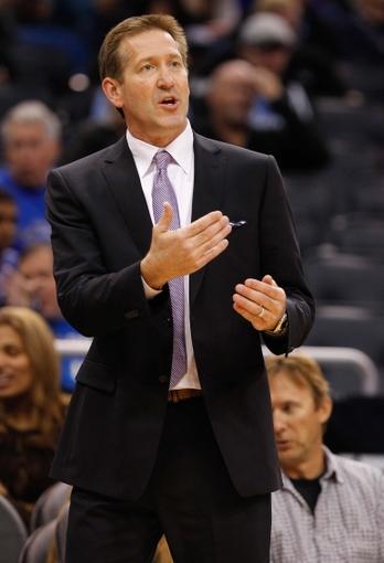 Nov 24, 2013; Orlando, FL, USA; Phoenix Suns head coach Jeff Hornacek against the Orlando Magic during the second half at Amway Center. Phoenix Suns defeated the Orlando Magic 104-96. Mandatory Credit: Kim Klement-USA TODAY Sports