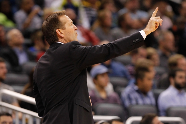 Nov 24, 2013; Orlando, FL, USA; Phoenix Suns head coach Jeff Hornacek points against the Orlando Magic during the second half at Amway Center. Phoenix Suns defeated the Orlando Magic 104-96. Mandatory Credit: Kim Klement-USA TODAY Sports