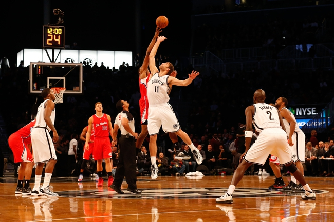 Dec 12, 2013; Brooklyn, NY, USA;   Tip off for the game between the Brooklyn Nets and the Los Angeles Clippers at Barclays Center. Mandatory Credit: Anthony Gruppuso-USA TODAY Sports