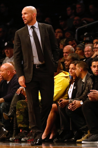 Dec 12, 2013; Brooklyn, NY, USA;  Brooklyn Nets head coach Jason Kidd during the first quarter against the Los Angeles Clippers at Barclays Center. Mandatory Credit: Anthony Gruppuso-USA TODAY Sports