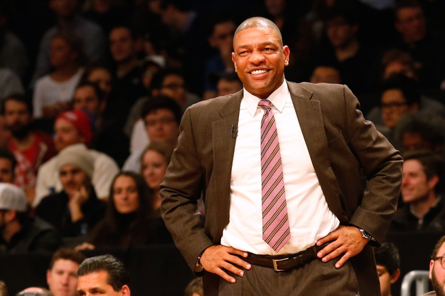 Dec 12, 2013; Brooklyn, NY, USA;  Los Angeles Clippers head coach Doc Rivers during the first quarter against the Brooklyn Nets at Barclays Center. Mandatory Credit: Anthony Gruppuso-USA TODAY Sports