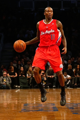 Dec 12, 2013; Brooklyn, NY, USA;  Los Angeles Clippers shooting guard Jamal Crawford (11) advances the ball during the second quarter against the Brooklyn Nets at Barclays Center. Mandatory Credit: Anthony Gruppuso-USA TODAY Sports