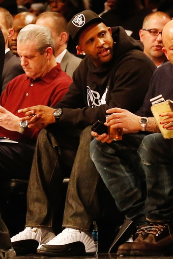 Dec 12, 2013; Brooklyn, NY, USA;  New York Yankees pitcher CC Sabathia at the game between the Brooklyn Nets and the Los Angeles Clippers at Barclays Center. Brooklyn Nets won 102-93.  Mandatory Credit: Anthony Gruppuso-USA TODAY Sports