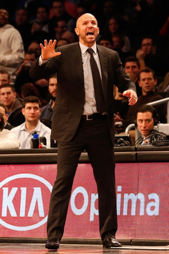 Dec 12, 2013; Brooklyn, NY, USA;  Brooklyn Nets head coach Jason Kidd reacts during the third quarter against the Los Angeles Clippers at Barclays Center. Brooklyn Nets won 102-93.  Mandatory Credit: Anthony Gruppuso-USA TODAY Sports