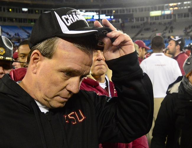 Dec 7, 2013; Charlotte, NC, USA; Florida State Seminoles head coach Jimbo Fisher after the game. The Seminoles defeated the Blue Devils 45-7 at Bank of America Stadium. Mandatory Credit: Bob Donnan-USA TODAY Sports