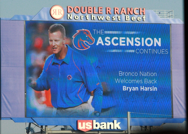 Dec 13, 2013; Boise, ID, USA; The media board at Bronco Stadium announces the return of Boise State Broncos new head football coach Bryan Harsin.  Mandatory Credit: Brian Losness-USA TODAY Sports