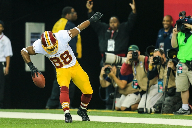 Dec 15, 2013; Atlanta, GA, USA; Washington Redskins wide receiver Pierre Garcon (88) celebrates a touchdown in the first half against the Atlanta Falcons at the Georgia Dome. Mandatory Credit: Daniel Shirey-USA TODAY Sports