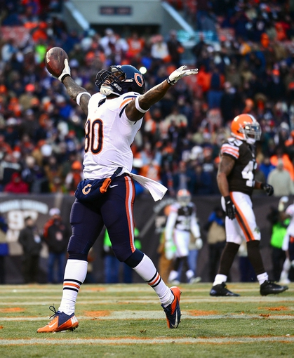 Dec 15, 2013; Cleveland, OH, USA; Chicago Bears wide receiver Earl Bennett (80) celebrates after catching a pass in the end zone for a touchdown during the fourth quarter against the Cleveland Browns at FirstEnergy Stadium. Mandatory Credit: Andrew Weber-USA TODAY Sports