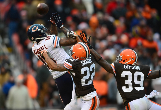 Dec 15, 2013; Cleveland, OH, USA; Chicago Bears wide receiver Brandon Marshall (15) is unable to make a catch while being defended by Cleveland Browns cornerback Buster Skrine (22) and free safety Tashaun Gipson (39) during the fourth quarter at FirstEnergy Stadium. Mandatory Credit: Andrew Weber-USA TODAY Sports