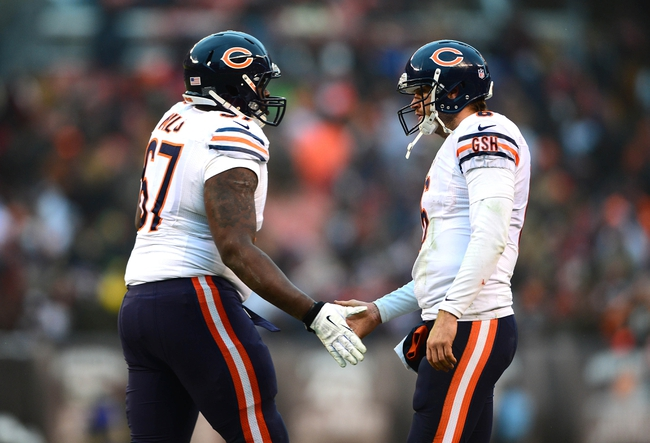 Dec 15, 2013; Cleveland, OH, USA; Chicago Bears quarterback Jay Cutler (6) celebrates with offensive tackle Jordan Mills (67) after a touchdown during the fourth quarter against the Cleveland Browns  at FirstEnergy Stadium. Mandatory Credit: Andrew Weber-USA TODAY Sports
