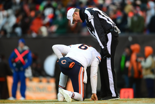 Dec 15, 2013; Cleveland, OH, USA; Chicago Bears quarterback Jay Cutler (6) is slow to get up after being hit during the fourth quarter against the Cleveland Browns at FirstEnergy Stadium. Mandatory Credit: Andrew Weber-USA TODAY Sports