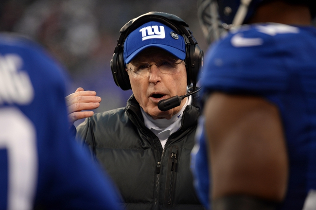 Dec 15, 2013; East Rutherford, NJ, USA; New York Giants head coach Tom Coughlin looks on against the Seattle Seahawks during the second half at MetLife Stadium. Mandatory Credit: Joe Camporeale-USA TODAY Sports