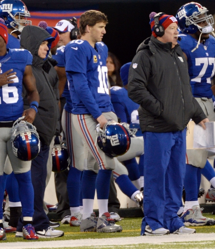 Dec 15, 2013; East Rutherford, NJ, USA; New York Giants quarterback Eli Manning (10) reacts on the sideline during the game against the Seattle Seahawks at MetLife Stadium. Mandatory Credit: Robert Deutsch-USA TODAY Sports