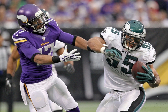 Dec 15, 2013; Minneapolis, MN, USA; Philadelphia Eagles linebacker Mychal Kendricks (95) intercepts a pass in front of Minnesota Vikings wide receiver Jarius Wright (17) during the third quarter at Mall of America Field at H.H.H. Metrodome. The Vikings defeated the Eagles 48-30. Mandatory Credit: Brace Hemmelgarn-USA TODAY Sports