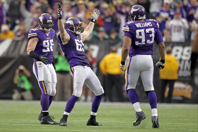 Dec 15, 2013; Minneapolis, MN, USA; Minnesota Vikings defensive end Jared Allen (69) celebrates his sack during the fourth quarter against the Philadelphia Eagles at Mall of America Field at H.H.H. Metrodome. The Vikings defeated the Eagles 48-30. Mandatory Credit: Brace Hemmelgarn-USA TODAY Sports