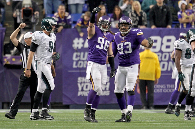Dec 15, 2013; Minneapolis, MN, USA; Minnesota Vikings defensive end Brian Robison (96) celebrates his sack with defensive tackle Kevin Williams (93) during the fourth quarter against the Philadelphia Eagles at Mall of America Field at H.H.H. Metrodome. The Vikings defeated the Eagles 48-30. Mandatory Credit: Brace Hemmelgarn-USA TODAY Sports
