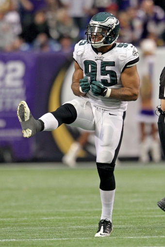Dec 15, 2013; Minneapolis, MN, USA; Philadelphia Eagles linebacker Mychal Kendricks (95) celebrates a sack during the fourth quarter against the Minnesota Vikings at Mall of America Field at H.H.H. Metrodome. The Vikings defeated the Eagles 48-30. Mandatory Credit: Brace Hemmelgarn-USA TODAY Sports